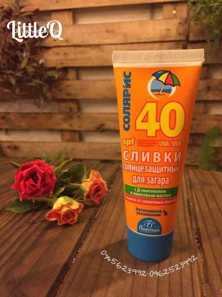 Kem chống nắng Floresan SPF40không trôi, bảo vệ da khỏi các tia UV. Floresan SPF40 dễ dàng hấp thu, hiệu quả chống nắng cao và nhanh chóng. Dưỡng ẩm, chống khô da.
