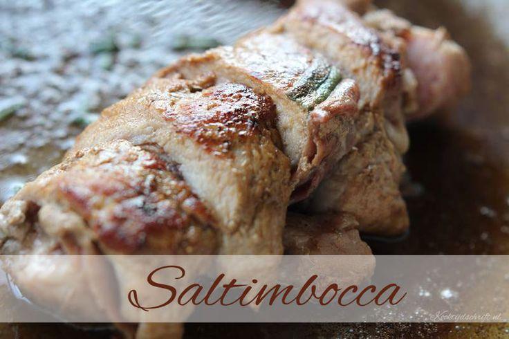 Satimbocca is een Italiaans gerecht van kalfsoester, salie en prosciutto gebakken en afgeblust met witte wijn