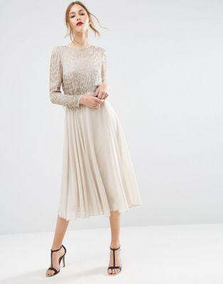 ASOS Embellished Tassle Long Sleeve Midi Dress