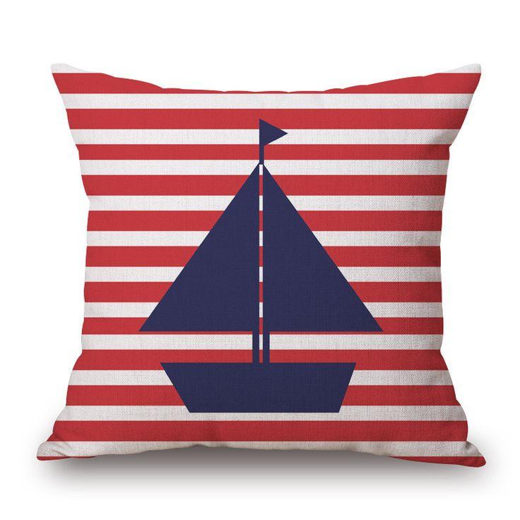 Mediterranean Marine Home Textile Pillowcases Sea Voyager Anchor Ship Boat Print Pillow Case Linen Cotton Pillow Cover NXH1375