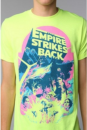 "The ""neon trend"" even looks good on guys, and here's the proof!: Tees Shirts, Urban Outfitters, This Is Awesome, Comic, Stars War, Urbanoutfitt Com, T Shirts, Starwars, Empire Strike"