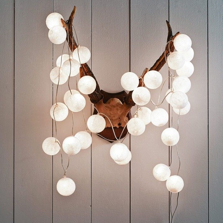 Graham and green white cotton ball string lights on shopstyle co uk