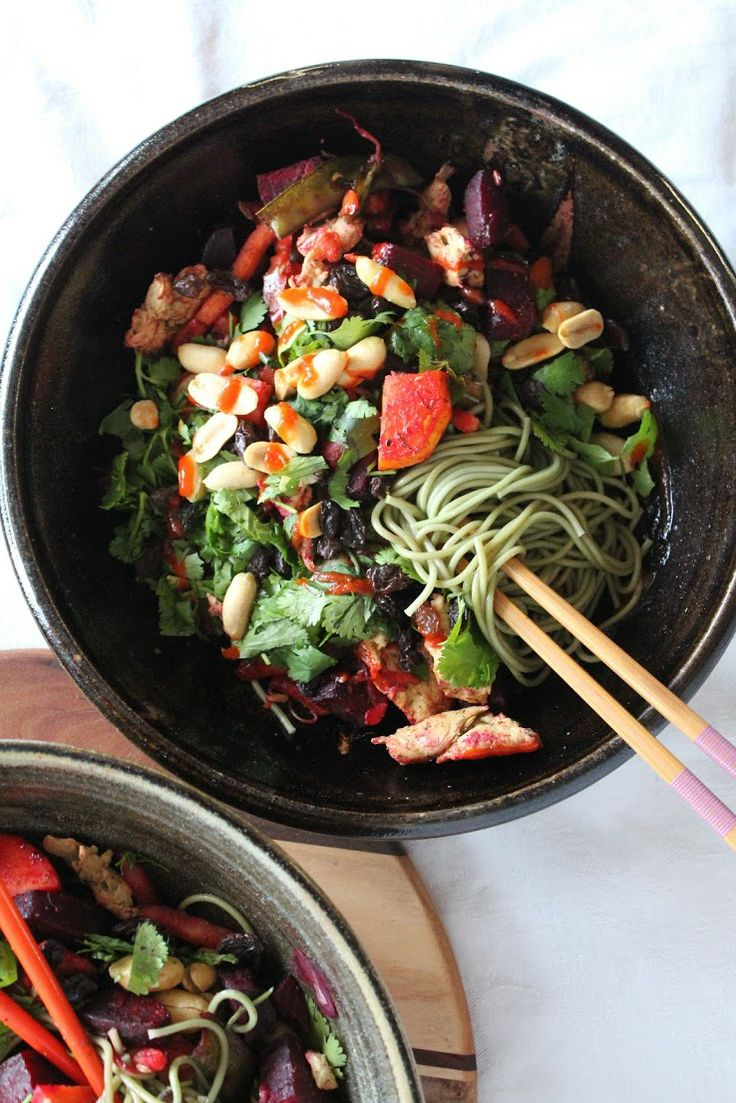 Green Tea Soba Noodles with Roasted Vegetables & Herbs #recipe