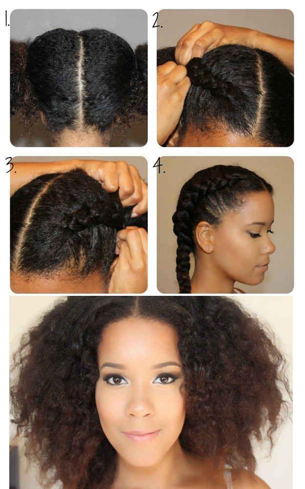 Garotas com cabelo afro podem tentar esta ideia de trança francesa apertada.