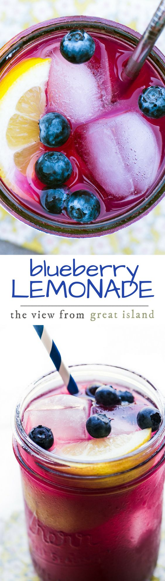 Blueberry Lemonade ~ here it is, the drink of the season! Hydrate with this deliciously tart beverage made with fresh lemons and a fresh blueberry puree. | beverage | summer drink | berries | healthy |