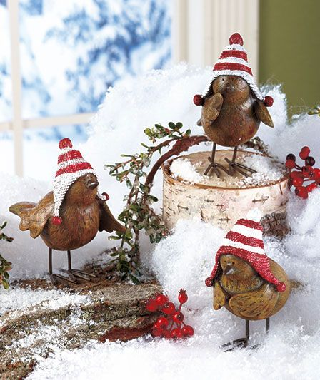 Hey you Ontarians enjoy this little winter spring humour ! Set Of 3 Holiday Bird Figurines | The Lakeside Collection
