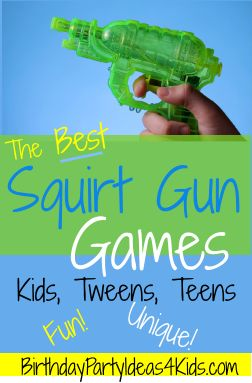 Squirt gun and Water gun games for kids, tweens and teens!  Fun and Unique games for all ages!  Great for summer parties, backyards, picnics and more!
