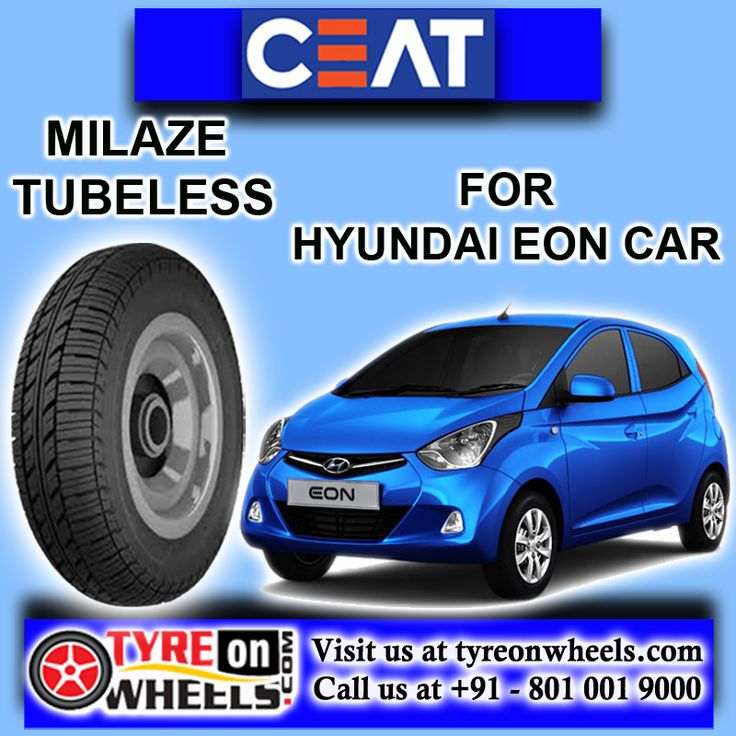 Buy Hyundai Eon Car Tyres Online of CEAT MilazeTubeless Tyres and also get fitted with Mobile Tyre fitting Vans at your doorstep at Guaranteed Low Prices buy now at http://www.tyreonwheels.com/tyres/Ceat/MILAZE-TUBELESS/31