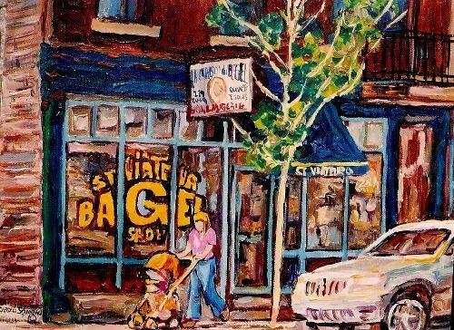 bakery paintings  | SPANDAU, CAROLE: CAROLE SPANDAU-BAKERY PAINTINGS-ST.VIATEUR BAGEL SHOP ...