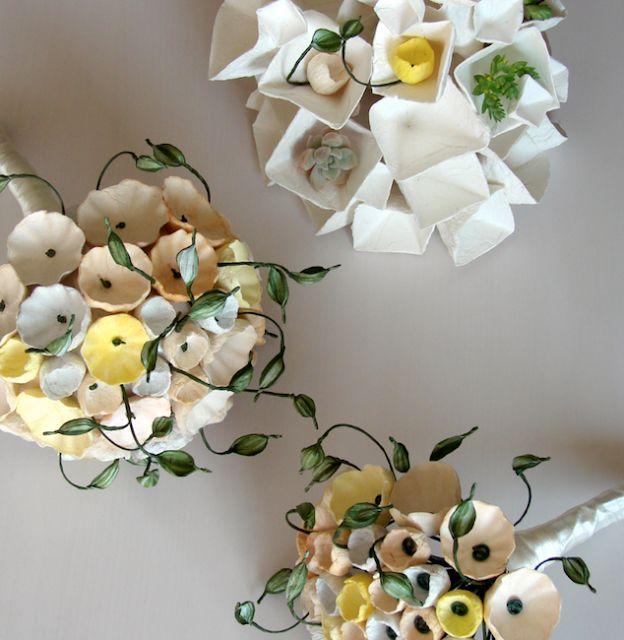 Matrimonio Green e design ecologico . Bouquet di carta , fiori di carta Roma by Alessandra Fabre Repetto. Green wedding paper bouquet, paper flowers centerpieces