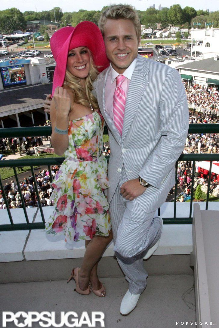 Pin for Later: Hats, Horses, and High Stakes — Stars at the Kentucky Derby!  Heidi Montag and Spencer Pratt cozied up at Churchill Downs in 2008.