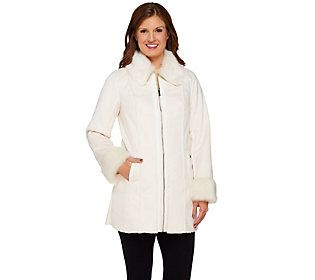 Dennis Basso Faux Shearling Multi-Seamed Coat