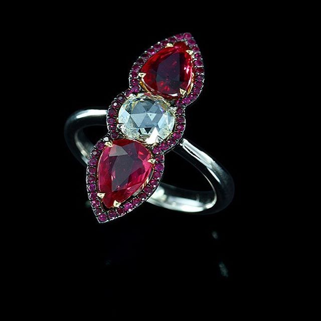 Red and White! #red #ruby #noheat #diamond #gold #ring #ivy  #ivynewyork www.ivynewyork.com