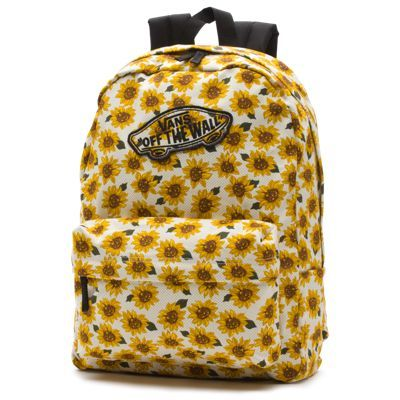 The Realm Sunflower Backpack, made of durable 100% polyester or 100% cotton, has all-over floral dot print, a zippered main compartment padded, adjustable straps, a padded back, carry handle, metal Vans logo zipper pulls, Vans OTW embroidered logo patch and a 22-liter capacity.