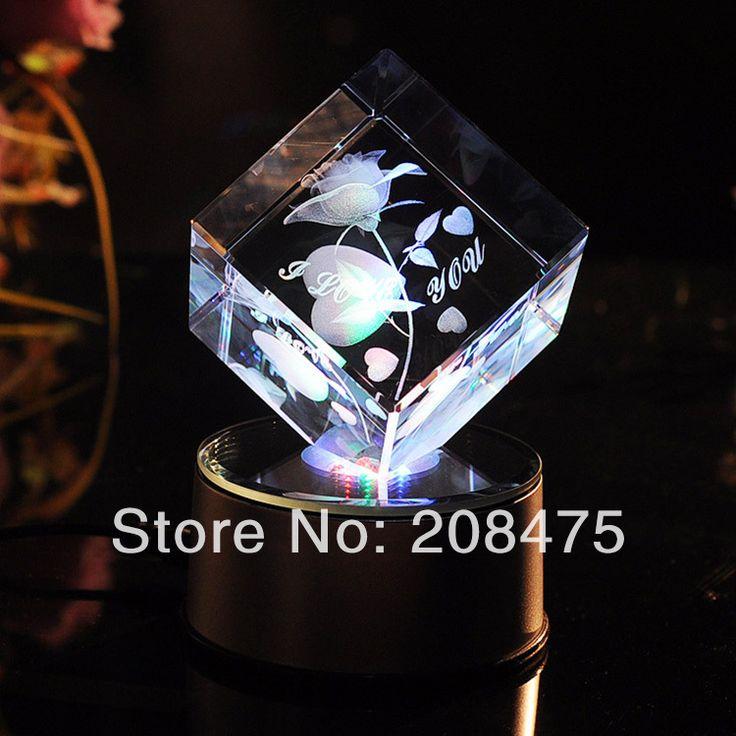 60*60*60 Куб Кристалл 3D Роуз, Crystal LED Base with Cube для Гравировки на День Благодарения Украшения