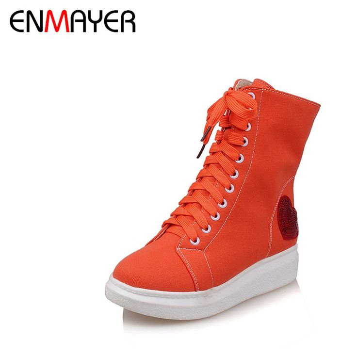 ==> [Free Shipping] Buy Best ENMAYER 2017 New Comfortable Lace-Up Zip Girls Flat Casual Shoes Women Canvas Bling Orange White Platform Female Leisure Date Online with LOWEST Price | 32726211248