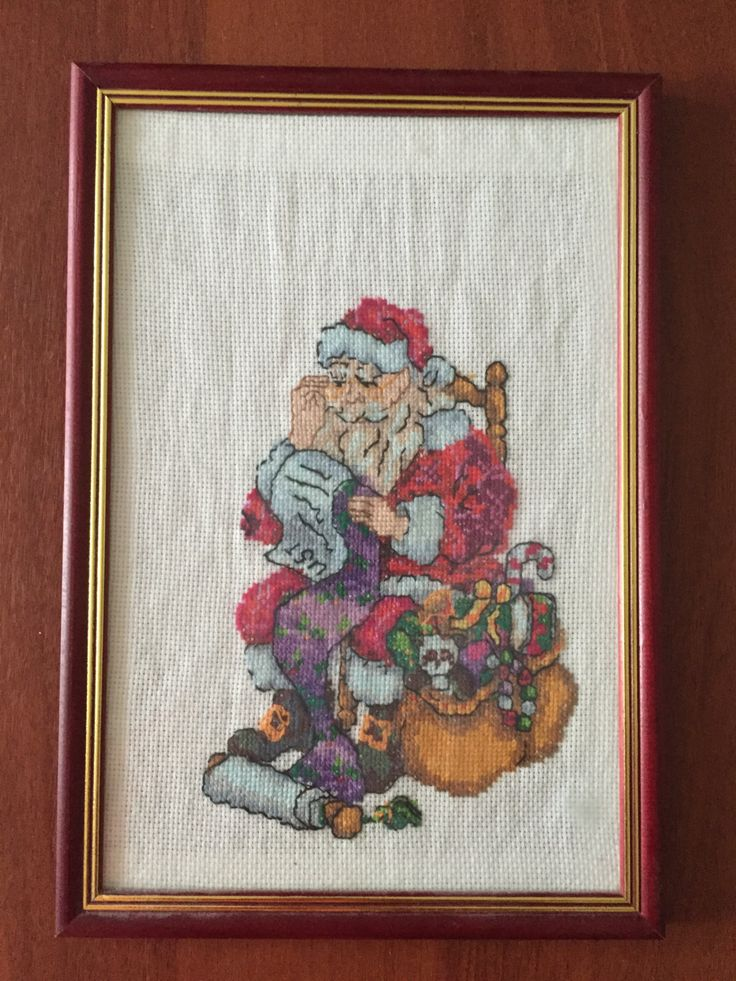 """Completed cross stitch, Home decoration, Framed cross stitch, Handmade embroidery - """"Santa Claus"""". by NattikStudio on Etsy"""
