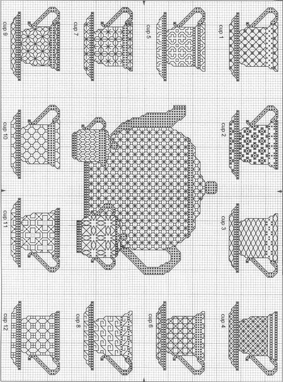 Blackwork teacups