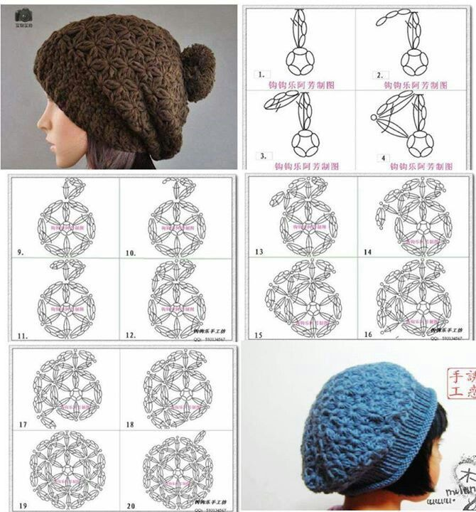 Diagrams for two cute hats