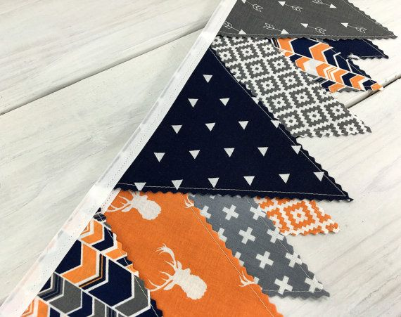 Bunting Banner, Boy Nursery Decor, Birthday Decoration - Navy Blue, Orange, Gray, Aztec Nursery, Tribal Nursery, Arrow, Deer, Woodland