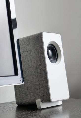 MM desktop speaker with rounded edges covered in felt | Well Rounded Sound Inc.