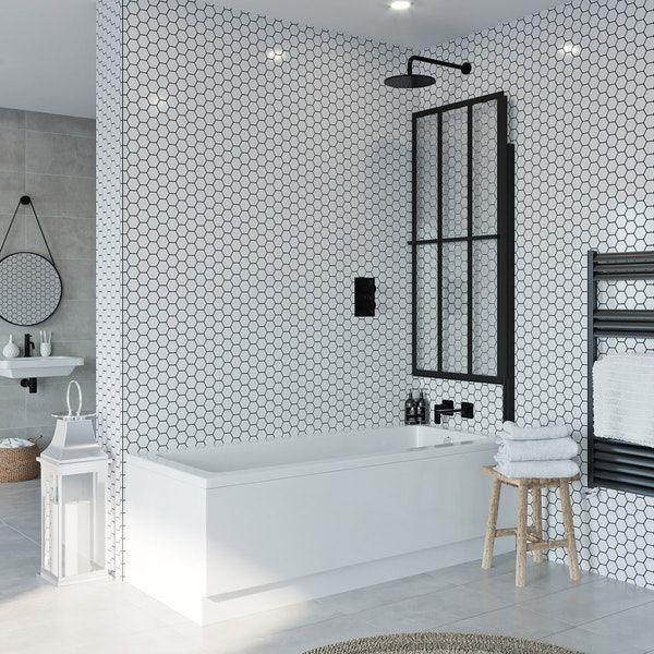 Jacuzzi Loft Black Framed Rising Shower Bath Screen Bath Shower Screens Bath Screens Shower Bath Combo