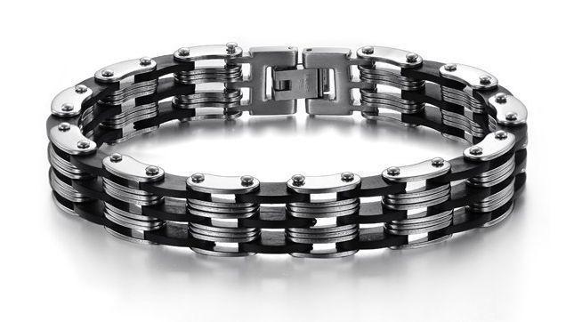 Bracelet Men Punk Black Silicone Men's Mens Bracelets #Unbranded #Trendy