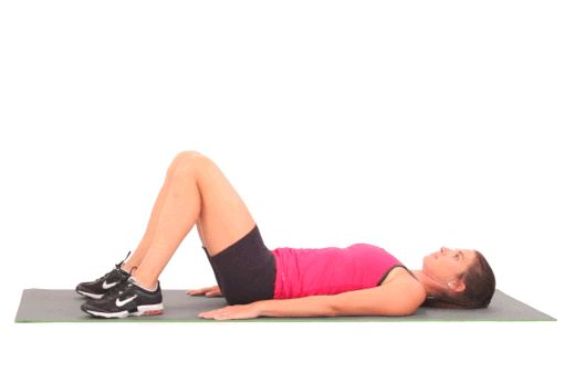 Lying Hip Raises:  will strengthen your glutes and hamstrings, while also working your abdominals, back and inner thighs. For a fun variation, lift your hips with your feet flat on the floor and slowly extend one leg up the sky.