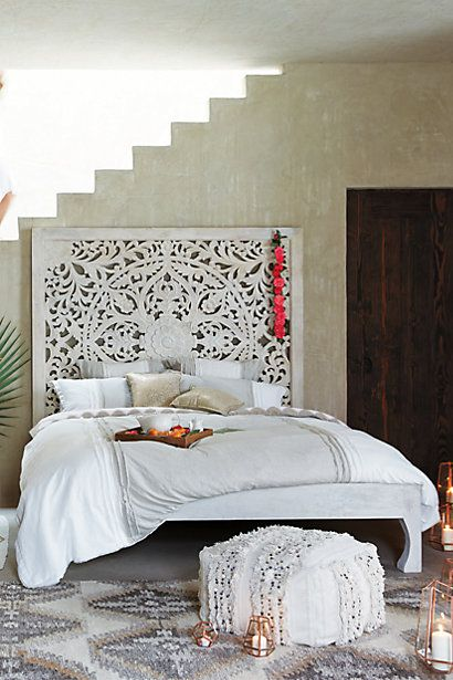 Lombok Bed #anthropologie. Just bought four piece wall art on sale for $50.00 from Cost Plus World Market! just like this!