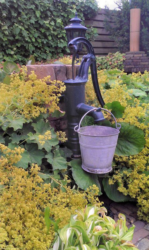 Hand waterpomp in de tuin.  © Leo Besseling