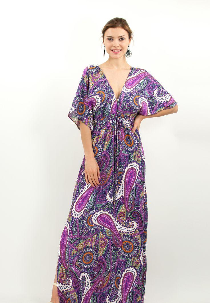 Μακρύ κρουαζέ εμπριμέ φόρεμα. | ΦΟΡΕΜΑΤΑ :: ZicZac