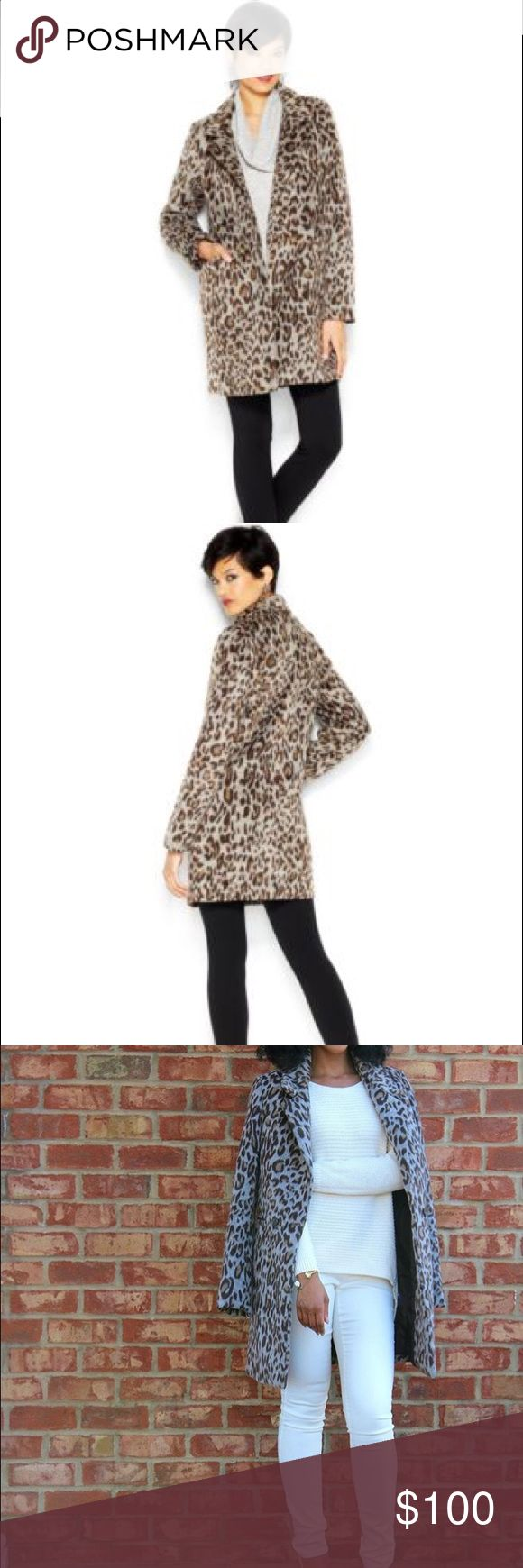 FAB Gray and Brown Leopard Print Coat! Worn once! FAB Gray and Brown Leopard Print Coat! Worn once, like new condition! Willing to negotiate, make me an offer! Bundle for a discount! 😊 Bar III Jackets & Coats
