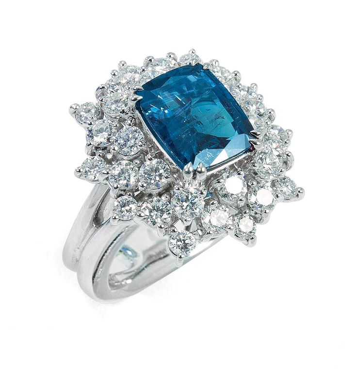 Alexander Laut 18K White Gold Round Blue Sapphire Ring with Diamonds 7DrXF