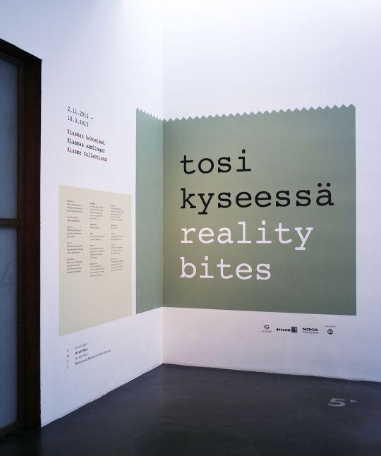 Visual identity for the Reality bites -exhibition at Kiasma Museum of Contemporary Arts