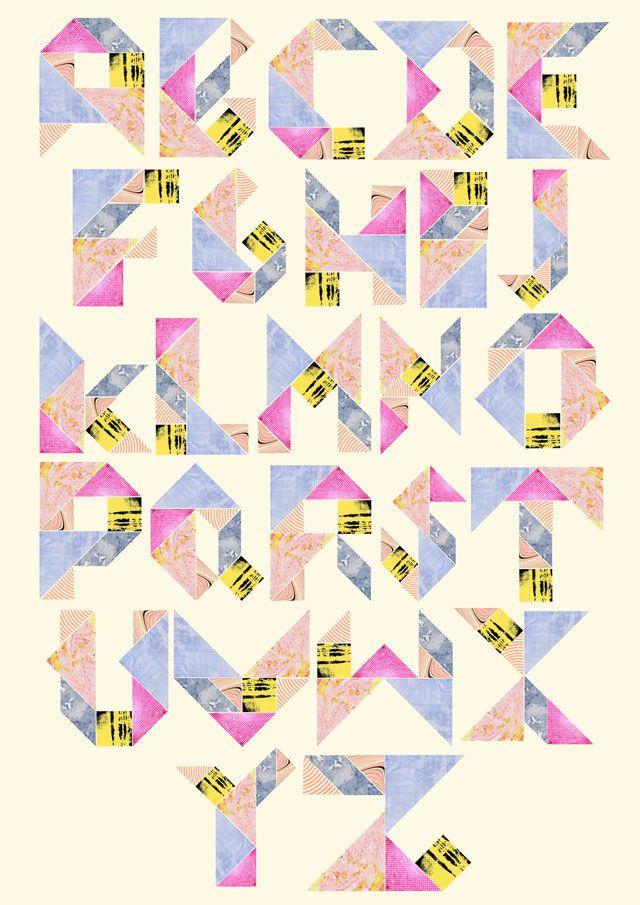 collaged tangram alphabet by laura redburn