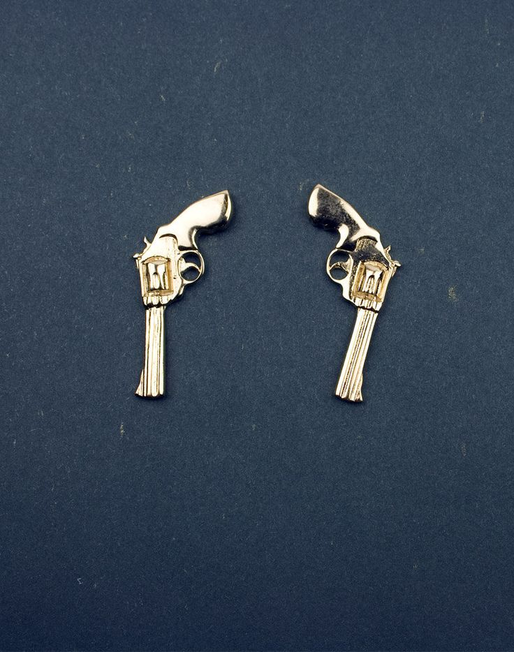 Gold Revolver Earrings...The #Beckett lover in me wants these! But in real life i'm afraid ppl will think i'm some kind of crazed thug who's packing heat at preschool pick up