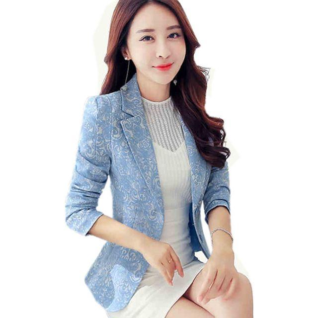 $22.98, 2017 New Blazer Plus Size 3XL Blazer Jacket Women Jacquard Small Suit Fashion Ladies Blazers Coats Casual Short Suit top Y319