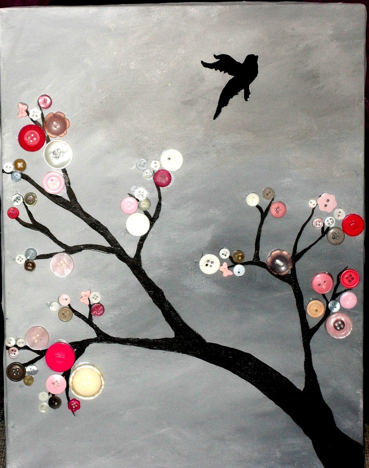 Button Tree - Acrylic painted on canvas. 12X16 inches. $45.00, via Etsy.