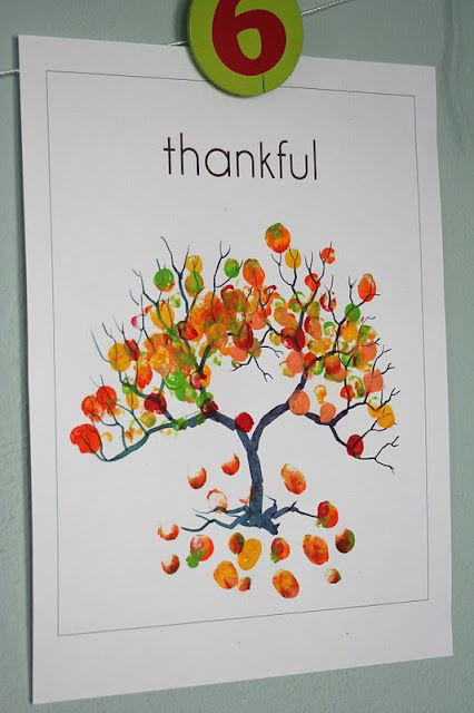 Kids fingerprint art: Thankful Tree. I would like one of these please. One color for each child (red, yellow, orange).