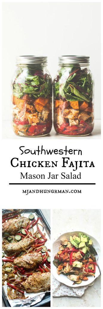 Southwestern Chicken Fajita Mason Jar Salad - <10 ingredients, one large sheet pan is all you need! // @mjandhungryman