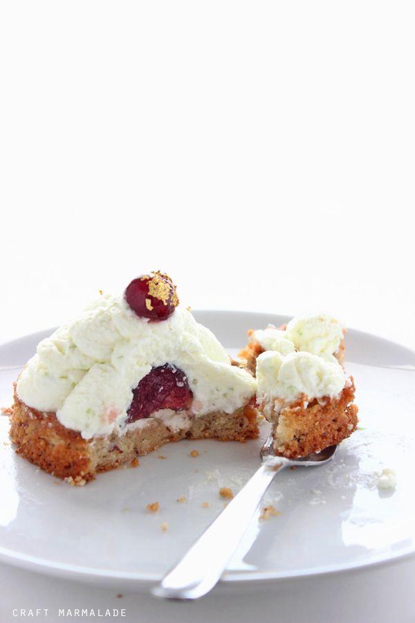 hazelnut sable breton with black cherries and lime mascarpone cream   craft marmalade