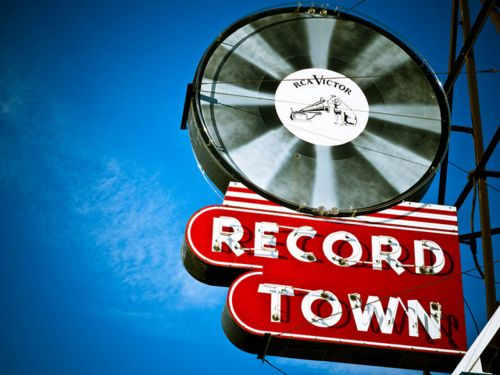 Great neon sign for Record Town, a music store in Fort Worth, Texas.