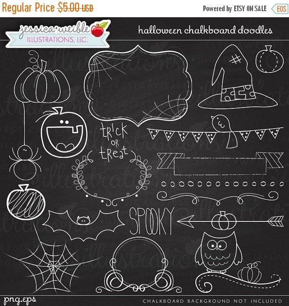 AN VERKAUF Halloween Tafel Kritzeleien digitale von JWIllustrations