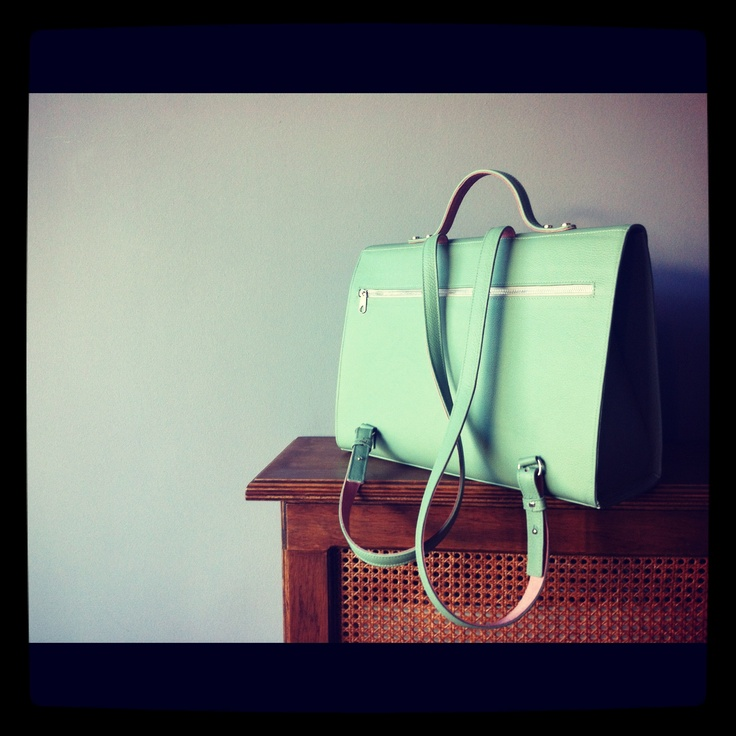 leather handmade backpack! light mint color!! leather bags by RIEN!!!