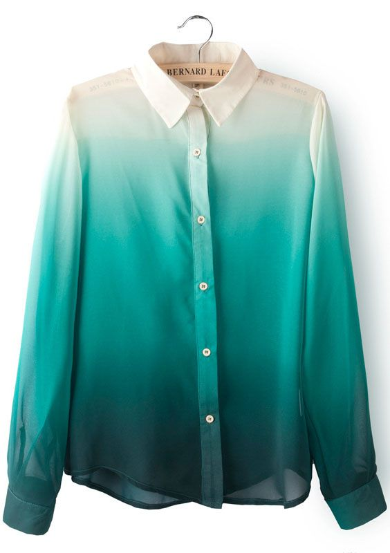 Green Gradients Lapel Long Sleeve Chiffon Blouse - abaday.com
