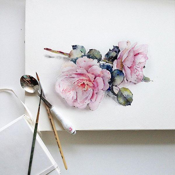 Flowers sketchbook by Katerina Pytina on Behance. Watercolor wildrose