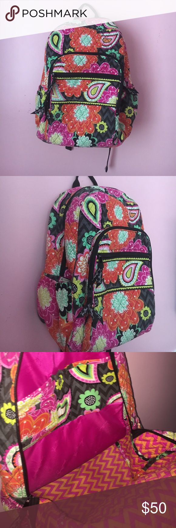 Vera Bradly backpack SALE Soft, floral backpack that is sold out at Vera Bradly. It has lots of room to put a bunch of stuff and to fit a lot of stuff inside. Has no stains/marks on it, was used, but is in GREAT condition. Vera Bradley Bags Backpacks