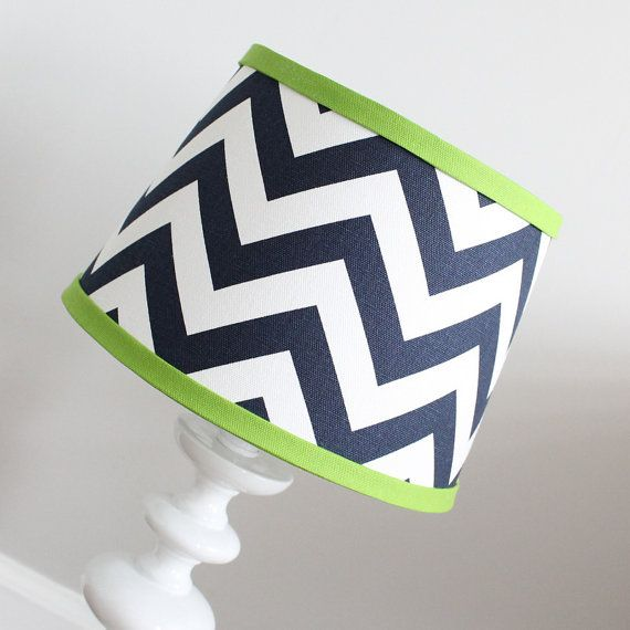 Small White Navy Blue Chevron lamp shade with by babymilanbedding, $38.00