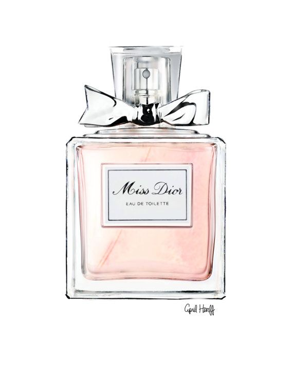 This is a PRINT of a Miss Dior Perfume illustration signed by the artist, April Marion. This piece is a great addition to any room and a perfect