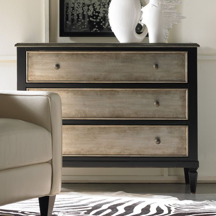 hooker furniture two tone aluminum wrap black 3 drawer chest dressers chests at - Bedroom Furniture Chest